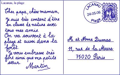 la carte postale en francais