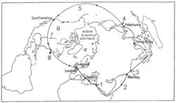L'itinéraire suivi par Philéas Fogg dans son tour du monde