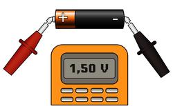 Exemple : mesure d'une tension aux bornes d'une pile seule