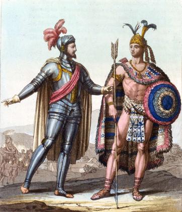 Hernán Cortés et l'empereur aztèque Montezuma II - illustration 1