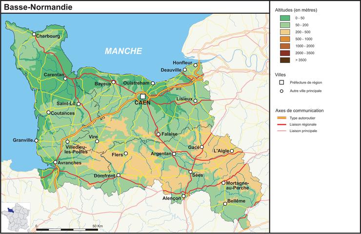 La Basse Normandie (fond de carte complété)   Base documentaire en