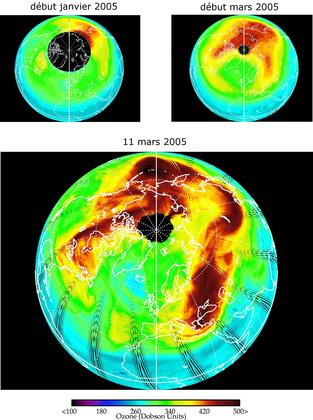 Teneur en ozone de l'atmosphère arctique