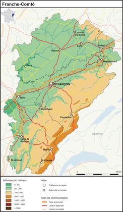 La Franche-Comté (fond de carte complété) - illustration 1