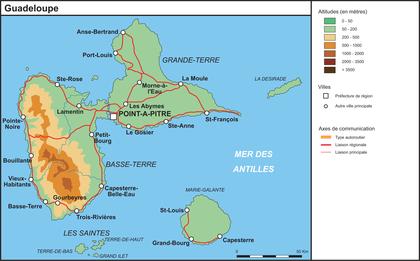 La Guadeloupe (fond de carte complété) - illustration 1