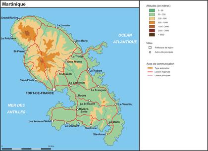La Martinique (fond de carte complété) - illustration 1