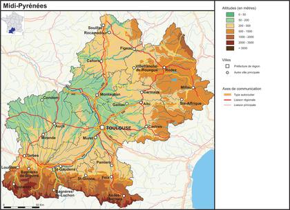 Midi-Pyrénées (fond de carte complété) - illustration 1