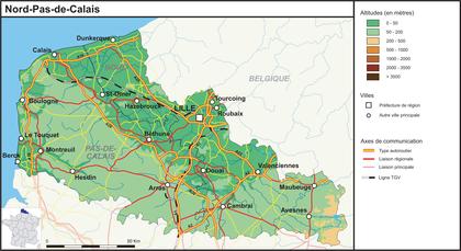 Nord-Pas-de-Calais (fond de carte complété) - illustration 1