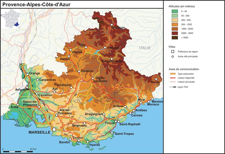 Image paca   Provence Alpes Côte d'Azur (fond de carte complété