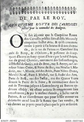 Lettre royale autorisant les carrosses à cinq sols - illustration 1
