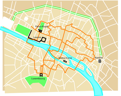 Plan du réseau des carrosses à cinq sols en 1662 - illustration 1