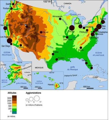 Les États-Unis : relief et population - illustration 1