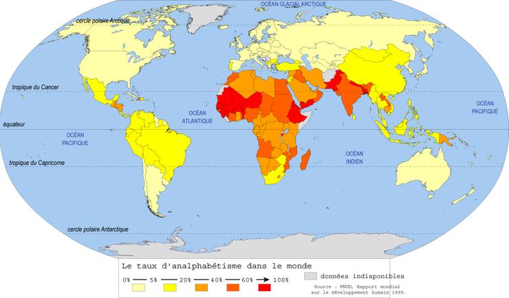 Le taux d'analphabétisme dans le monde   Base documentaire en