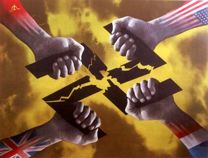 Les mains des Alliés détruisant la croix gammée nazie - illustration 1