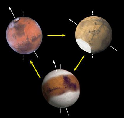 Répartition de la glace d'eau sur Mars