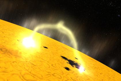 Flamme créée par le champ magnétique solaire