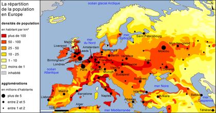 La répartition de la population en Europe - illustration 1