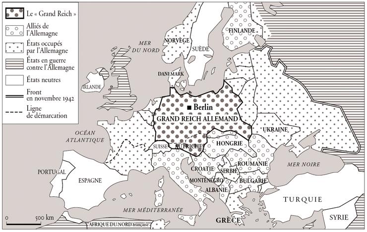Carte De Leurope Occupee.Carte Europe Nazie 1942