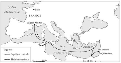 Carte des septième et huitième croisades - illustration 1