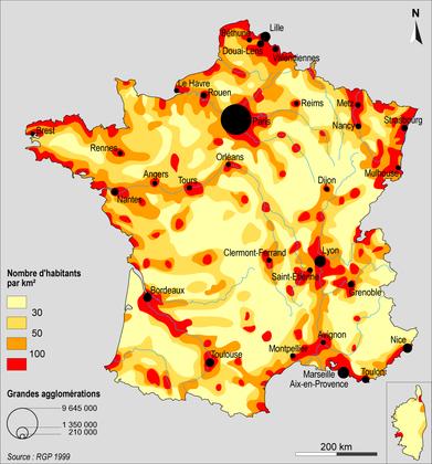 La répartition de la population en France - illustration 1