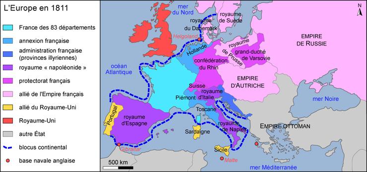 carte europe 1811