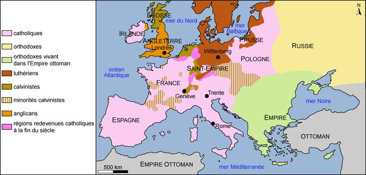 carte europe religion