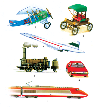 Voitures, trains et avions au cours du temps - illustration 1