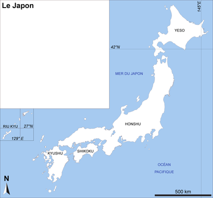 Le Japon : fond de carte - illustration 1