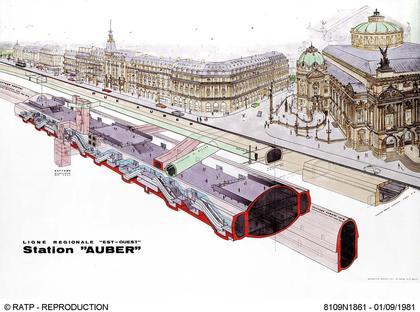 Dessin de la gare RER d'Auber au pied de l'Opéra - illustration 1