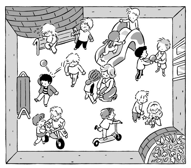Très La cour d'école - Banque d'images sur la vie quotidienne  NH27