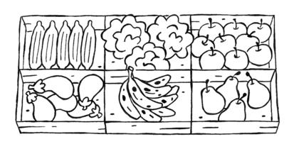 L'étal de fruits et de légumes