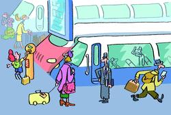 La gare et les voyageurs