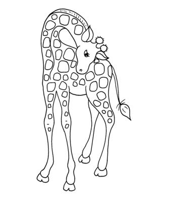 Une girafe à colorier