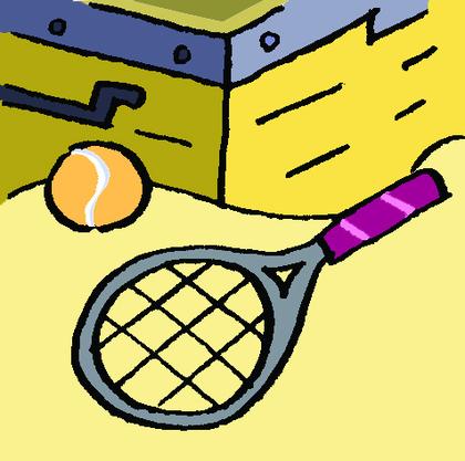 La raquette et la balle de tennis