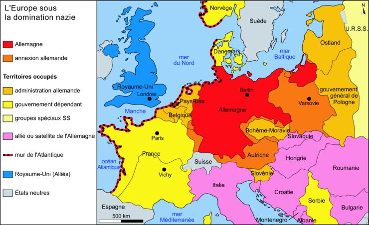 carte europe nazie 1942