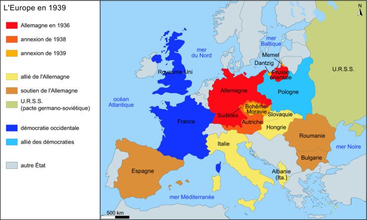 carte europe seconde guerre mondiale