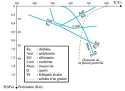Domaines de stabilité de quelques minéraux repères
