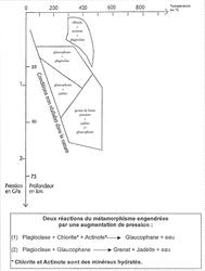 Diagramme pression-température montrant les domaines de stabilité de quelques associations de minéraux caractéristiques des métagabbros