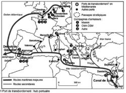 Ports et routes maritimes en Méditerranée et Europe de l'Ouest.